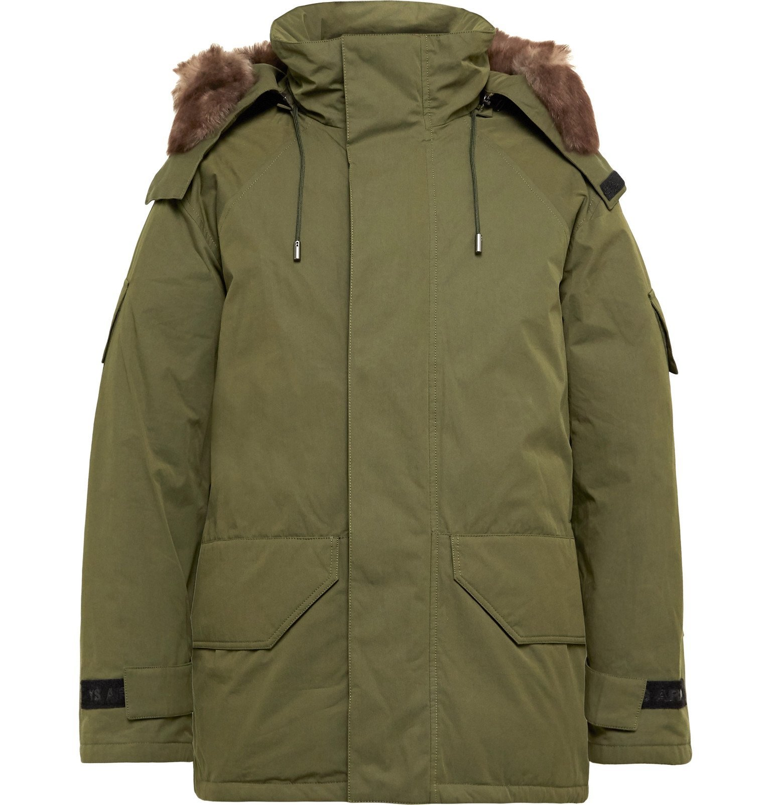 Photo: Yves Salomon - Shearling-Trimmed Cotton-Blend Twill Hooded Down Parka - Green