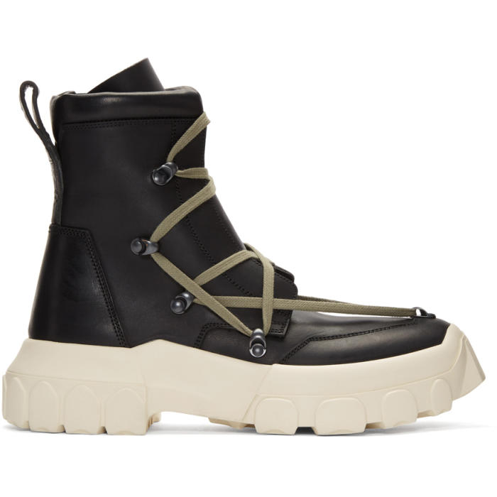 Photo: Rick Owens Black and White Hiking Lace-Up Boots