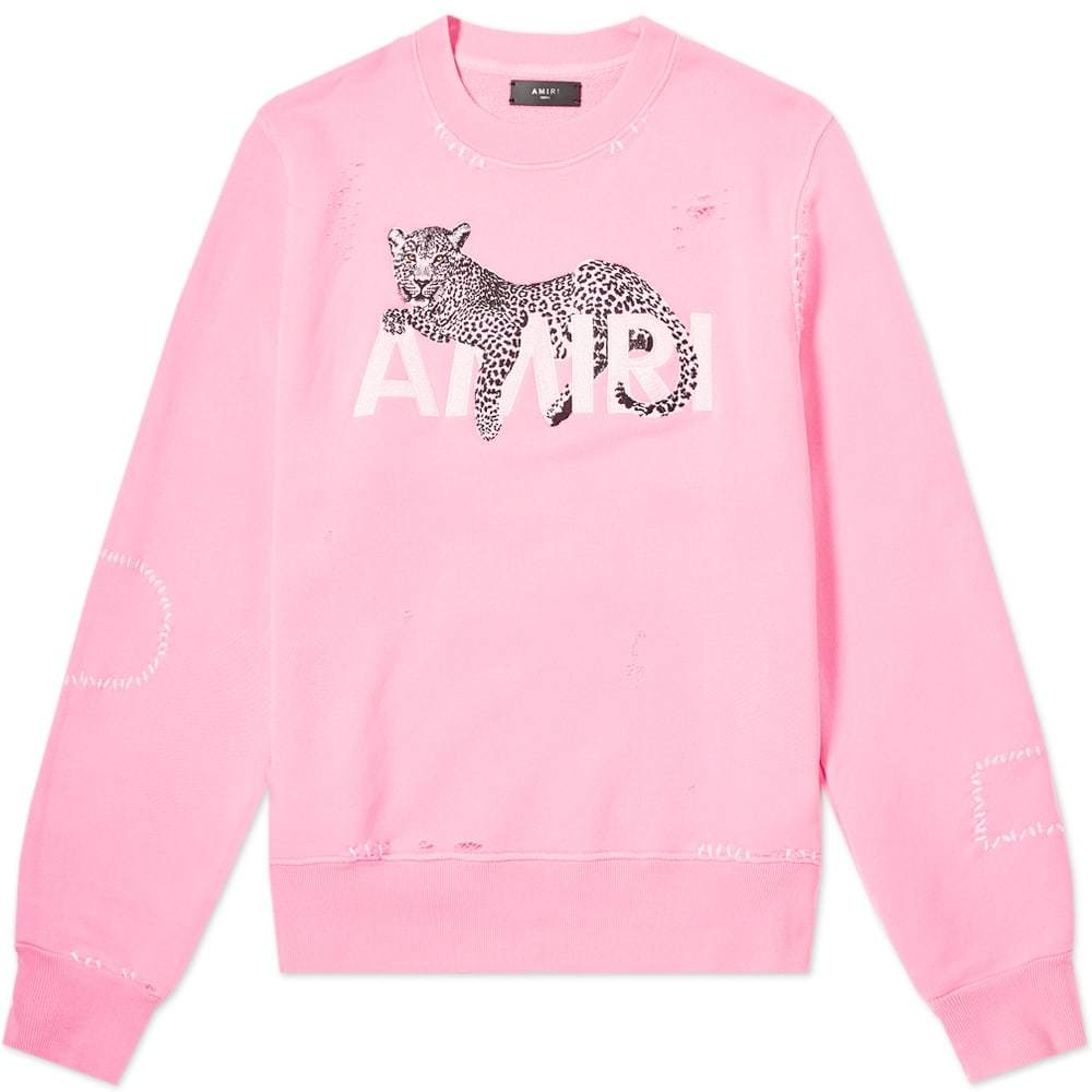 Photo: AMIRI Leopard Oversized Crew Sweat Neon Pink