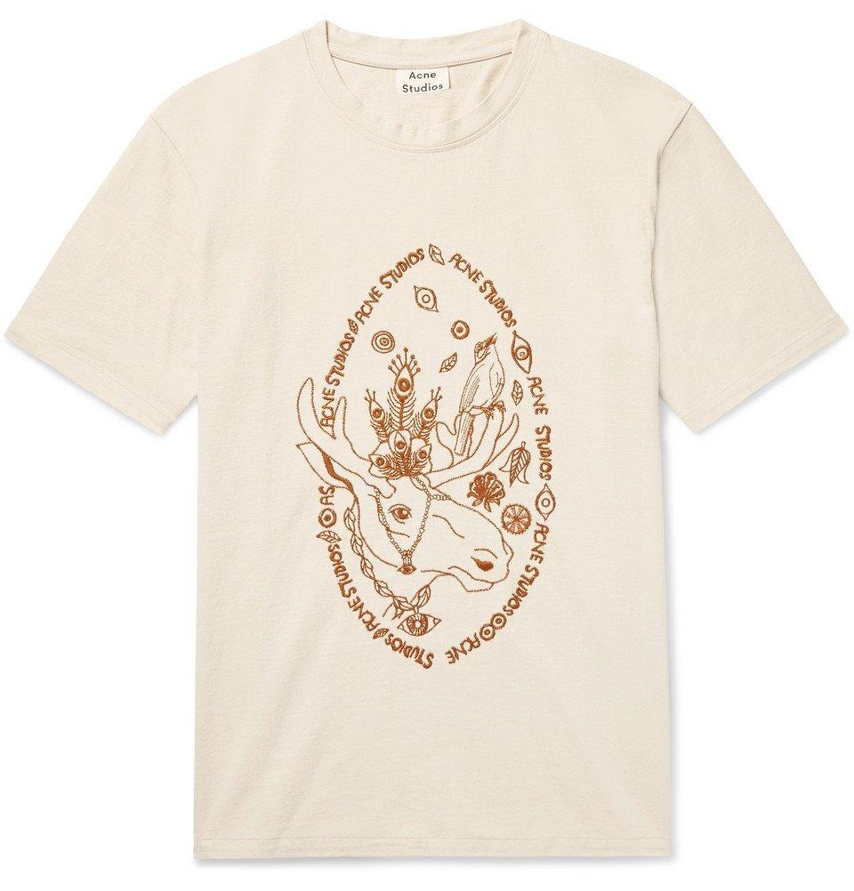 Acne Studios - Bemabe Moose Embroidered Cotton-Jersey T-Shirt - Men - Ecru