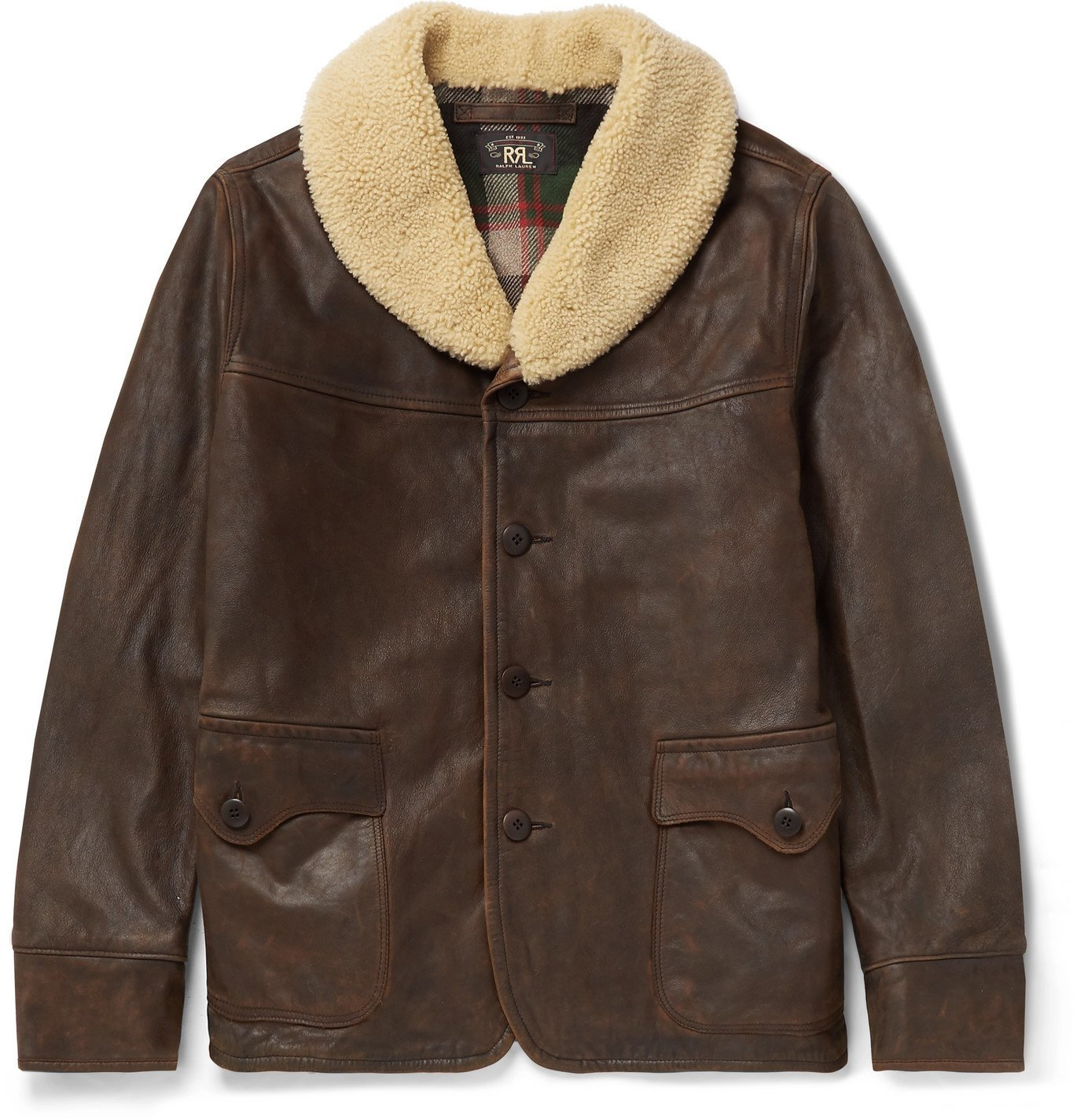 Photo: RRL - Palmer Shearling-Trimmed Distressed Leather Jacket - Brown