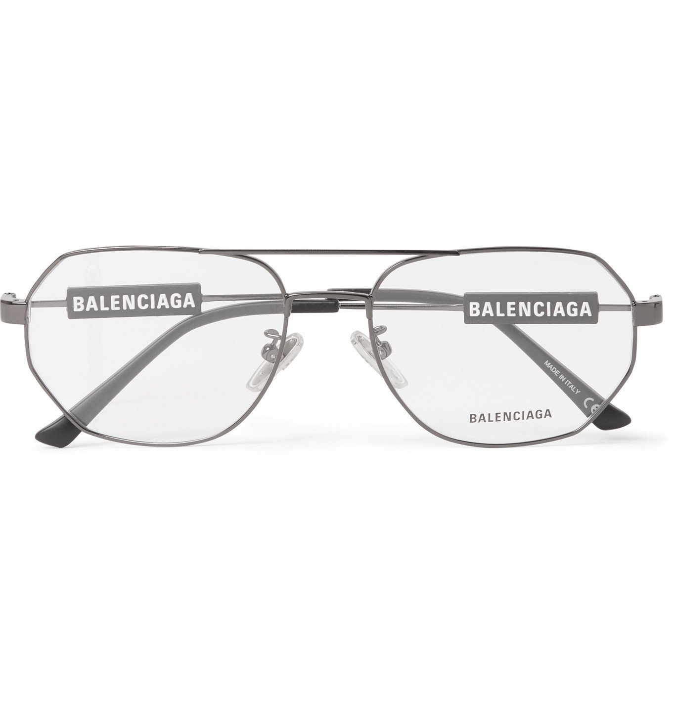 Photo: Balenciaga - Aviator-Style Gunmetal-Tone Optical Glasses - Silver