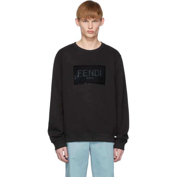 Photo: Fendi Black Sequined Logo Sweatshirt