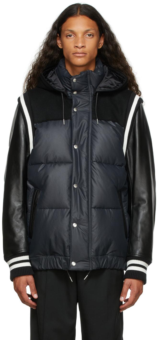 Photo: Sacai Black Insulated Hooded Varsity Jacket