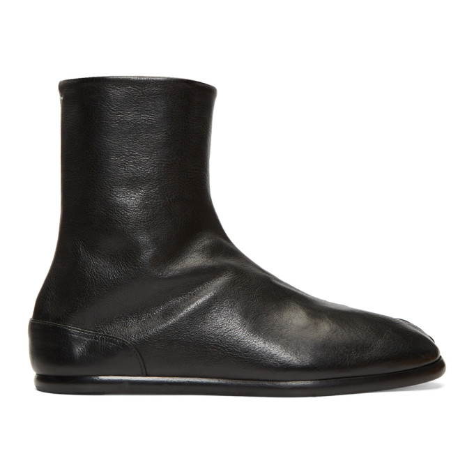 Photo: Maison Margiela Black Flat Tabi Boots