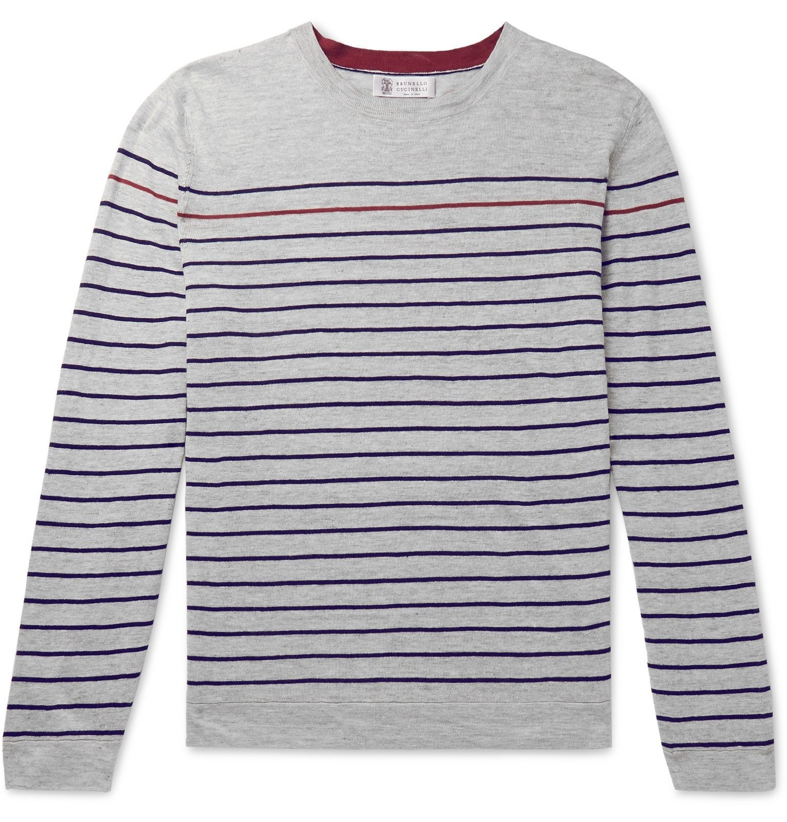 Photo: Brunello Cucinelli - Striped Mélange Linen and Cotton-Blend Sweater - Gray