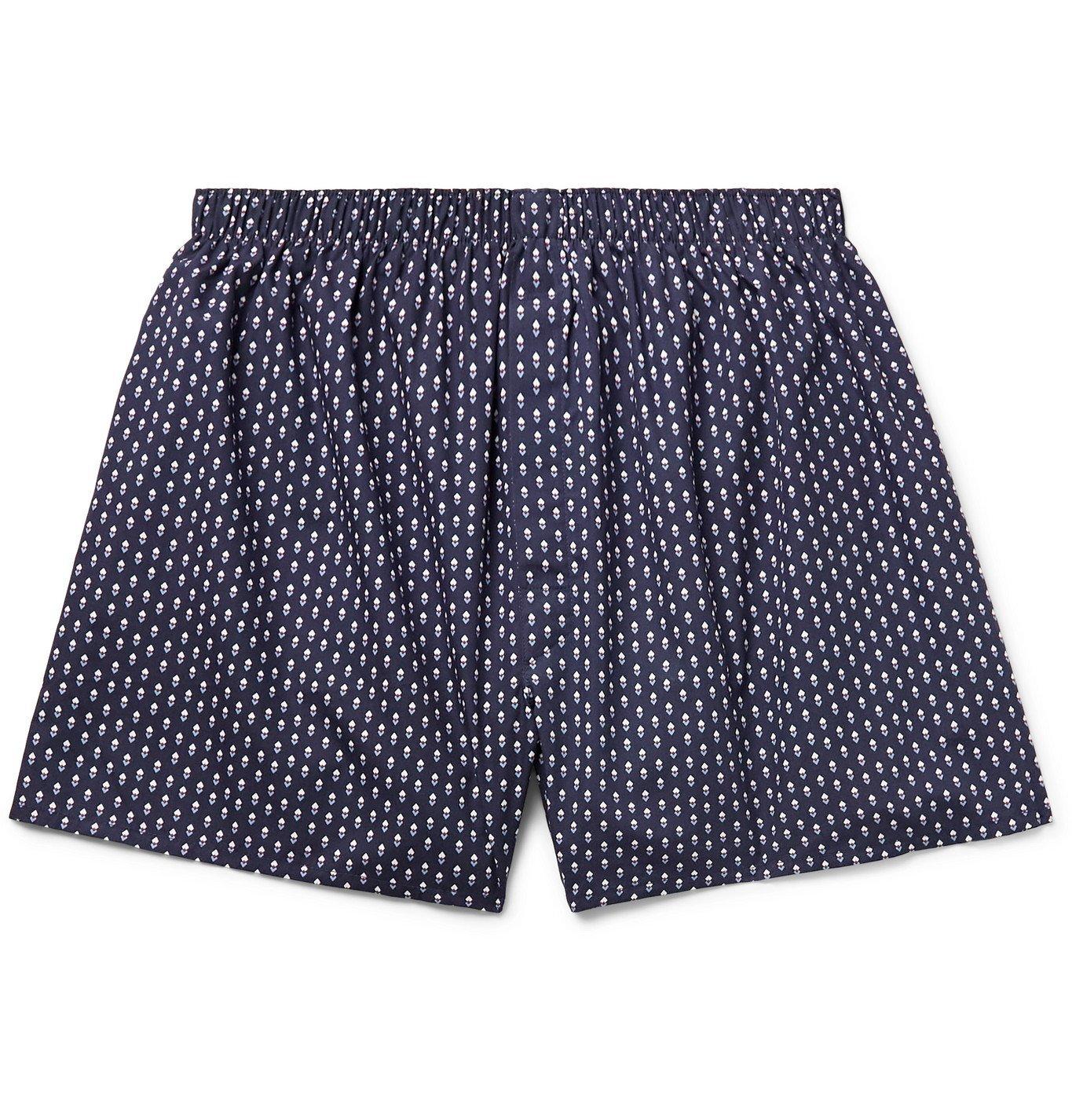 Sunspel - Printed Cotton Boxer Shorts - Blue