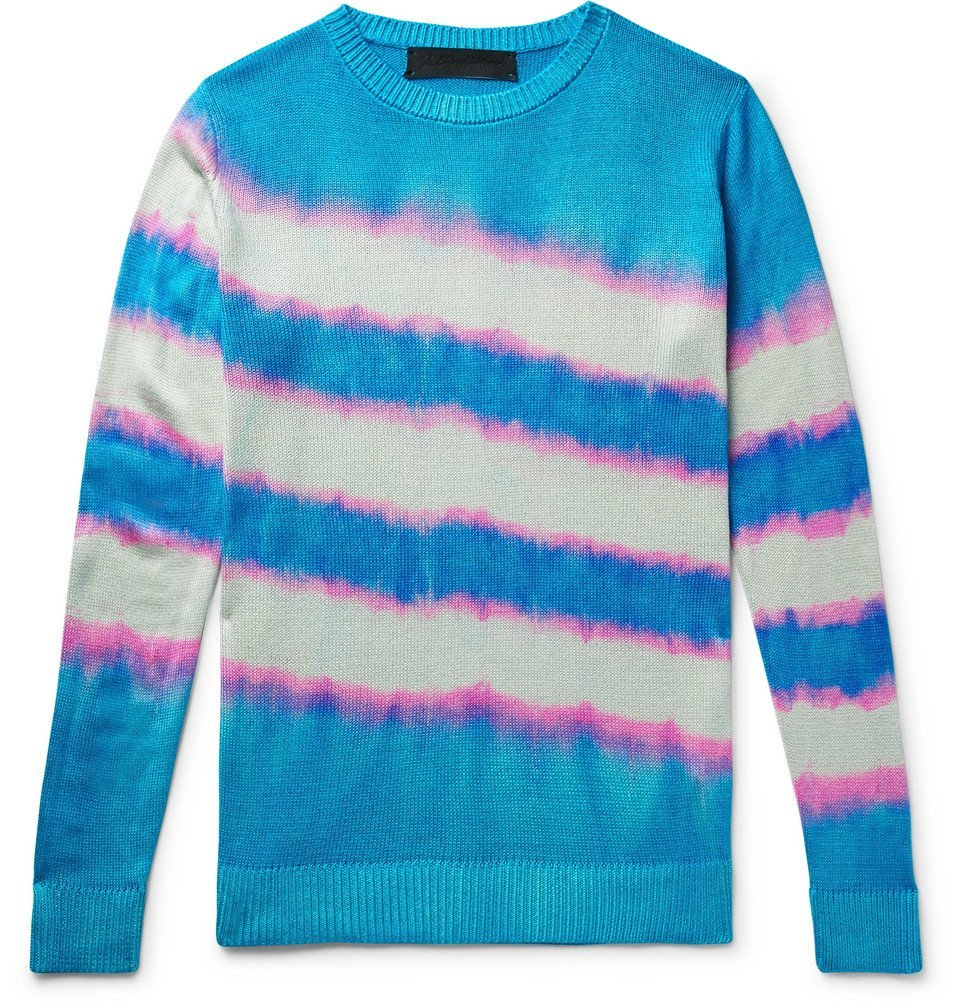 Photo: The Elder Statesman - Tie-Dyed Silk Sweater - Turquoise