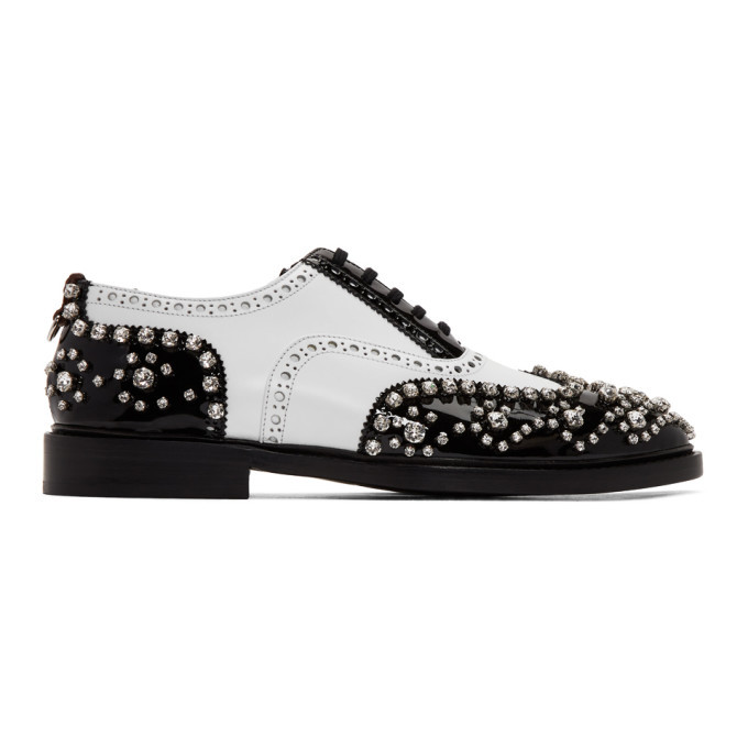 Photo: Burberry SSENSE Exclusive Black and White Lennard Cry Brogues