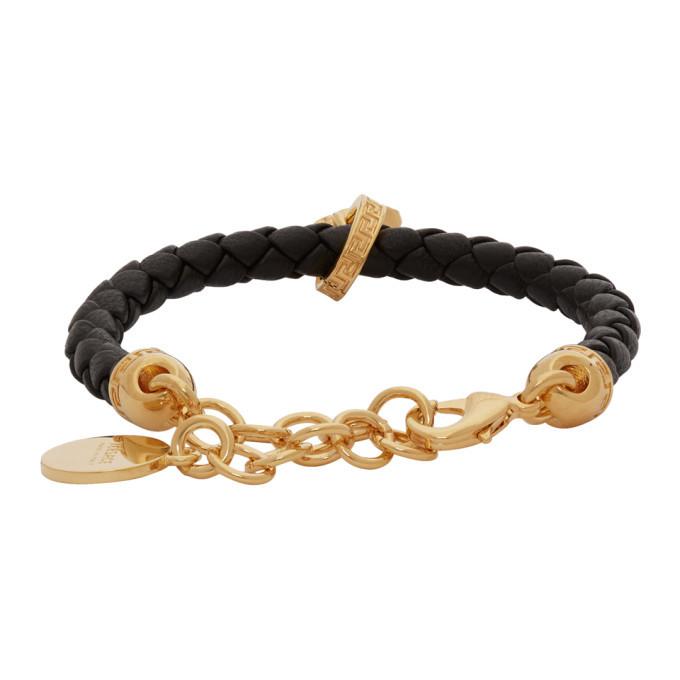 Versace Gold Leather Medusa Bracelet