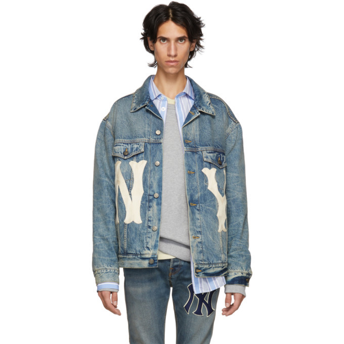 Photo: Gucci Blue NY Yankees Edition Patch Denim Jacket