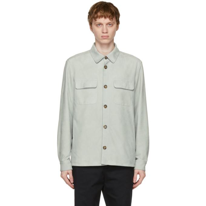 Photo: Loro Piana Blue Leather Overshirt Jacket