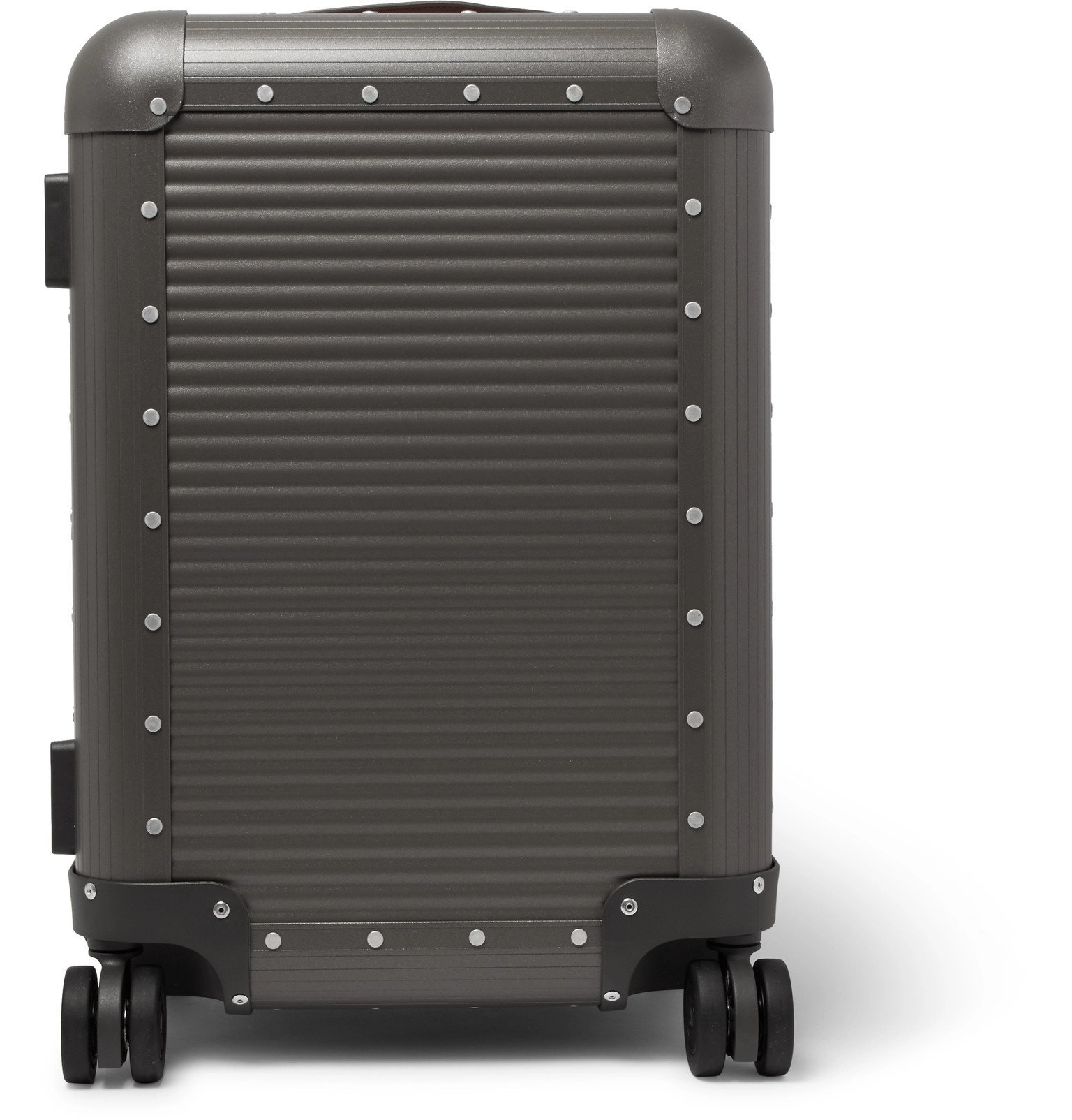 Photo: Fabbrica Pelletterie Milano - Spinner 53cm Leather-Trimmed Aluminium Carry-On Suitcase - Gray
