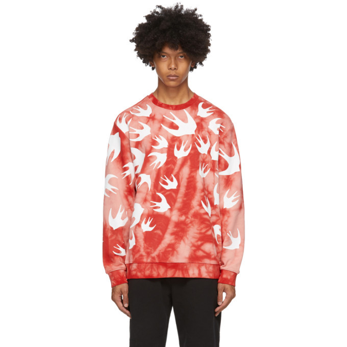 Photo: McQ Alexander McQueen Pink and Red Tie-Dye Swallows Sweatshirt