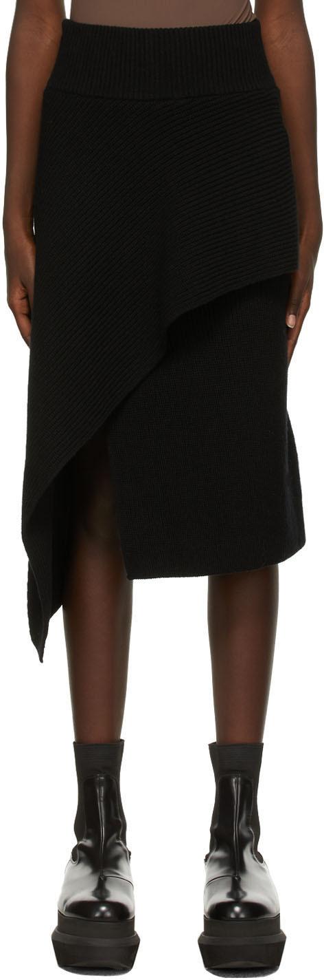 Sacai Black Wool Knit Skirt