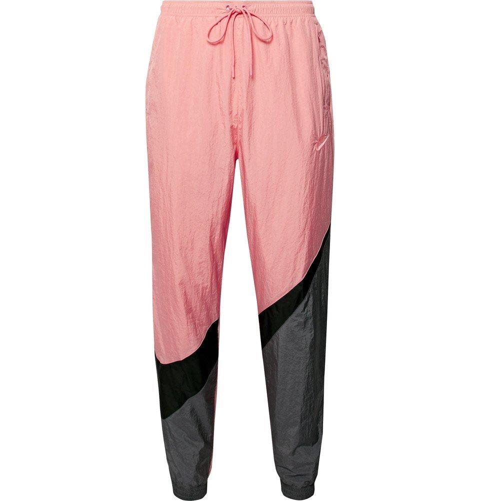 Photo: Nike - Tapered Logo-Print Colour-Block Nylon Track Pants - Pink