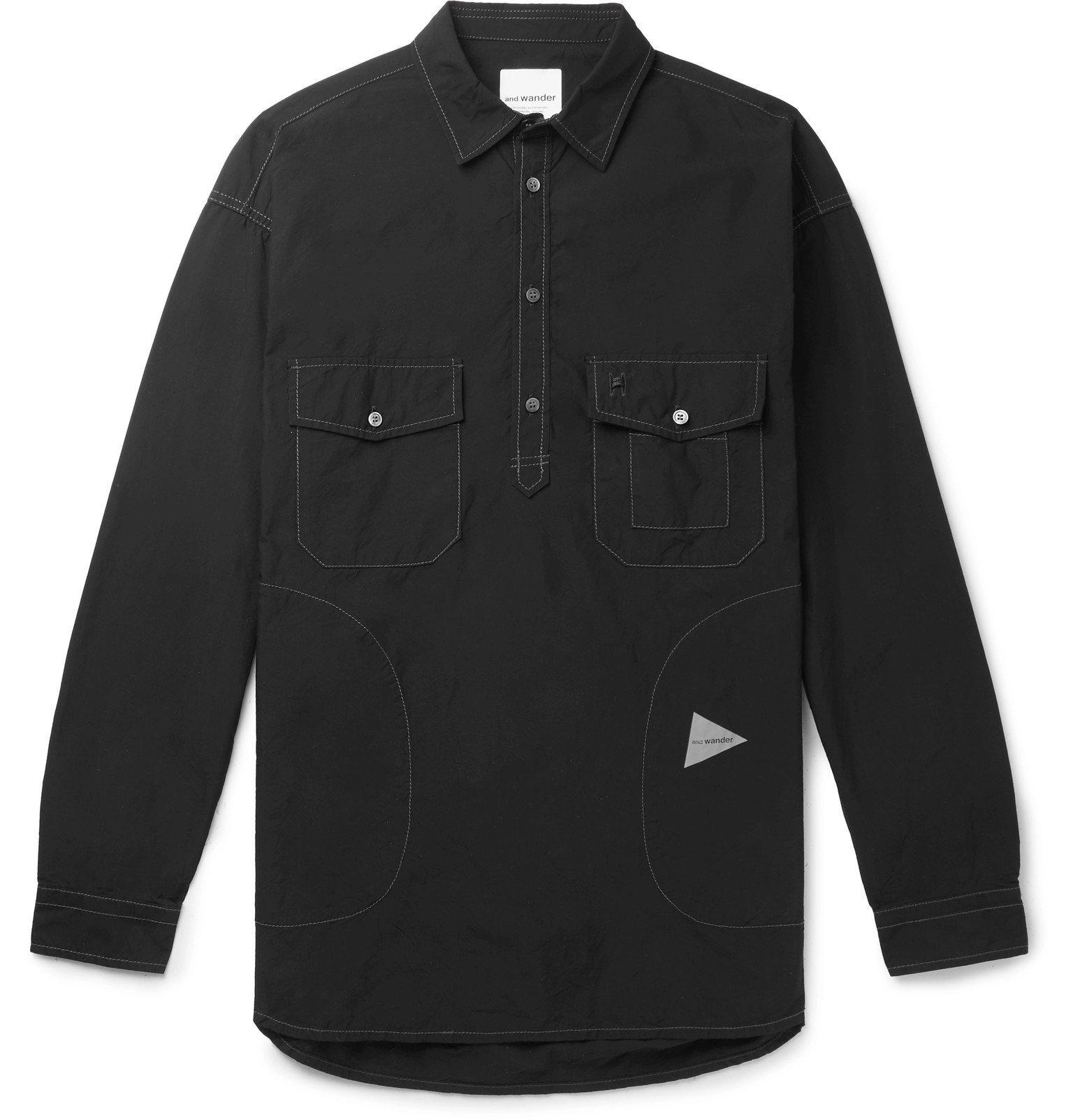 Photo: And Wander - Typewriter CORDURA Half-Placket Shirt - Black