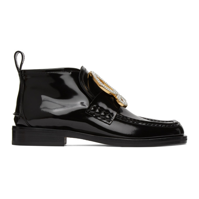Photo: Loewe Black Patent Calfskin High-Top Loafers