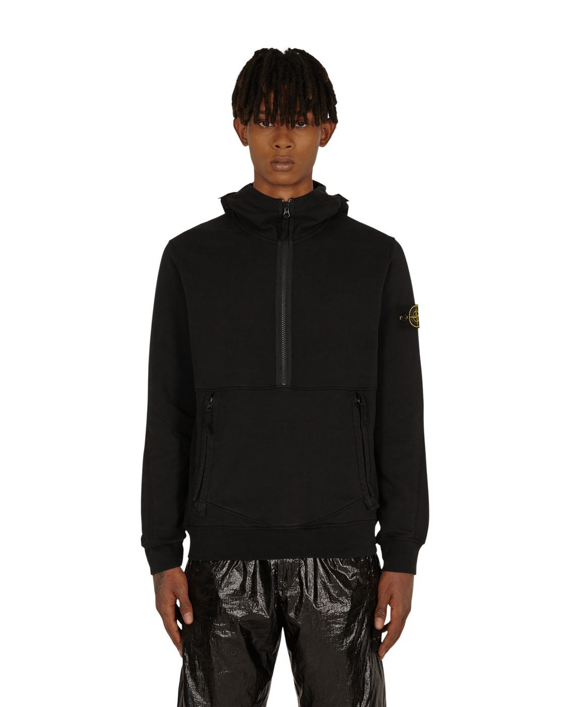 Photo: Stone Island Classic Half Zip Hooded Sweatshirt Black