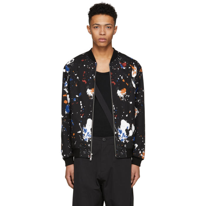 Photo: 3.1 Phillip Lim Black Painted Bomber Jacket