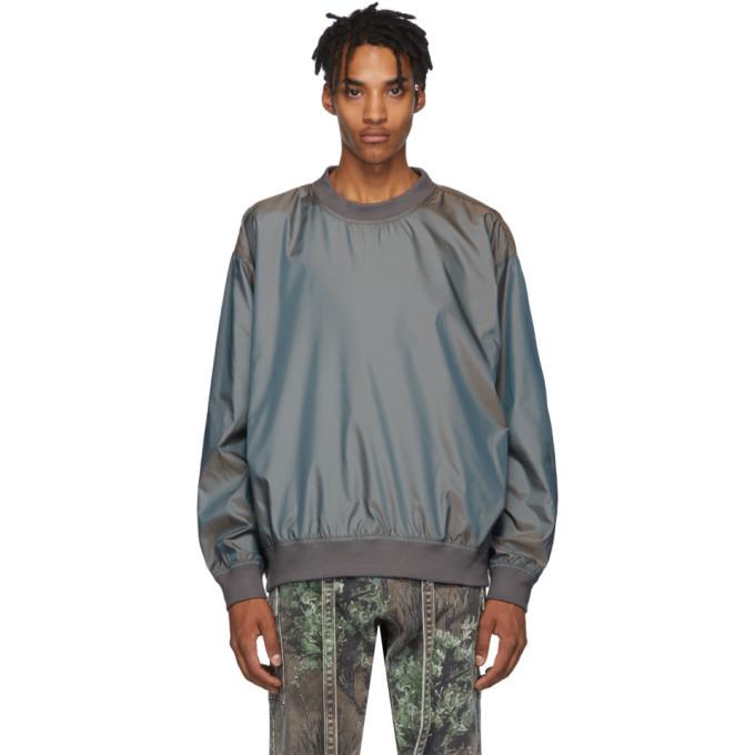 Photo: Fear of God Grey Nylon Iridescent Sweatshirt