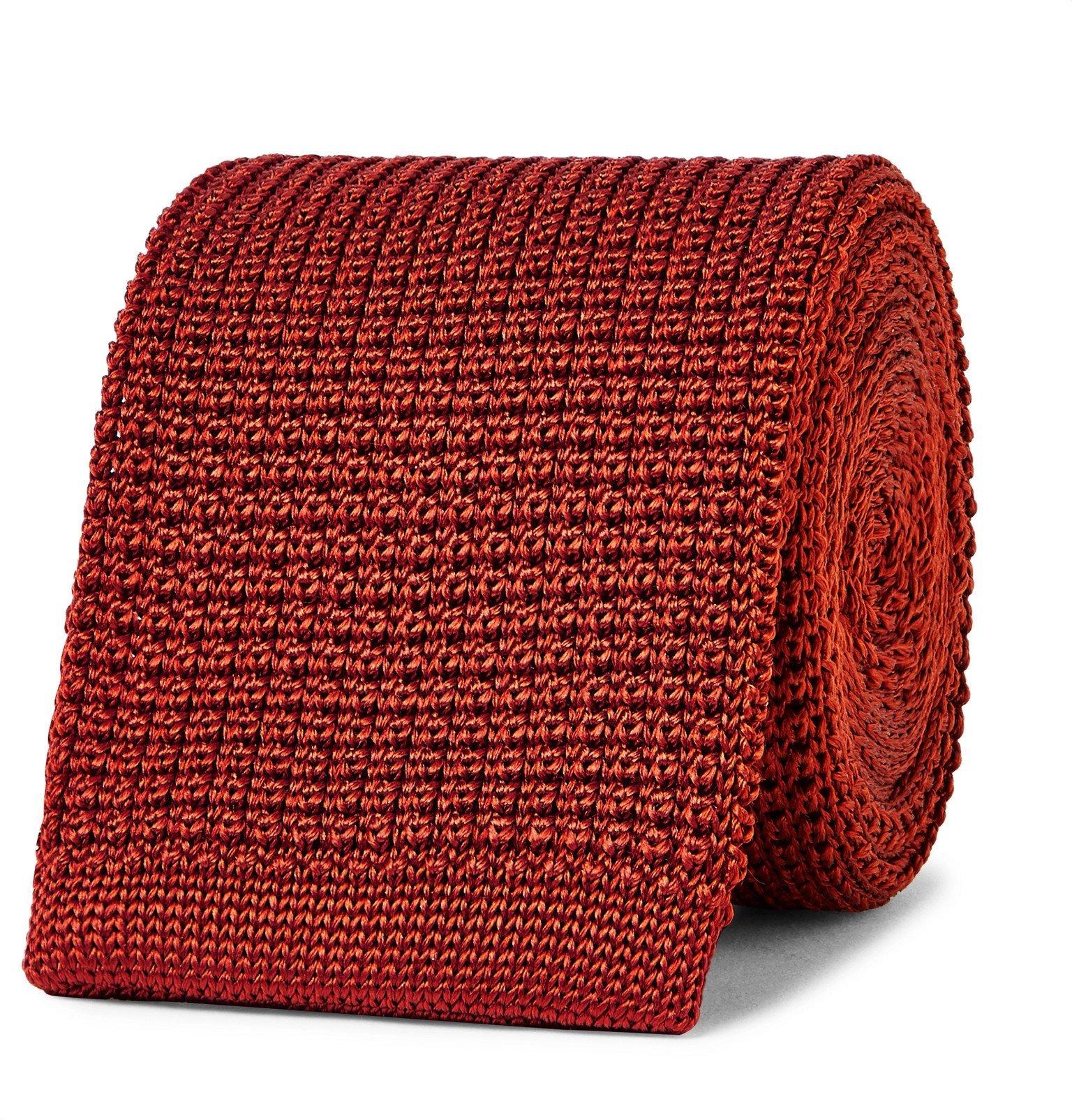Photo: Boglioli - 6cm Knitted Silk Tie - Red