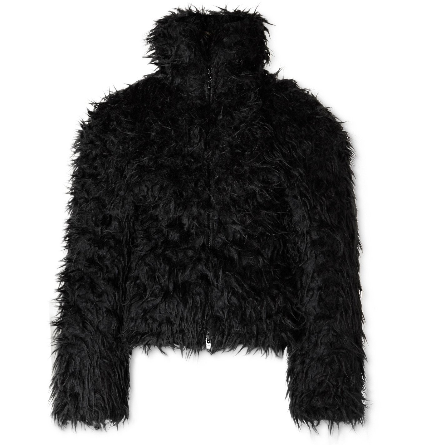 Photo: Balenciaga - Cropped Padded Faux Fur Jacket - Black