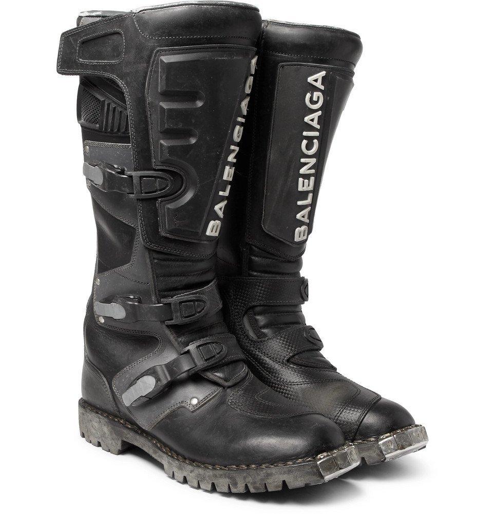 Photo: Balenciaga - Leather Motorcycle Boots - Men - Black