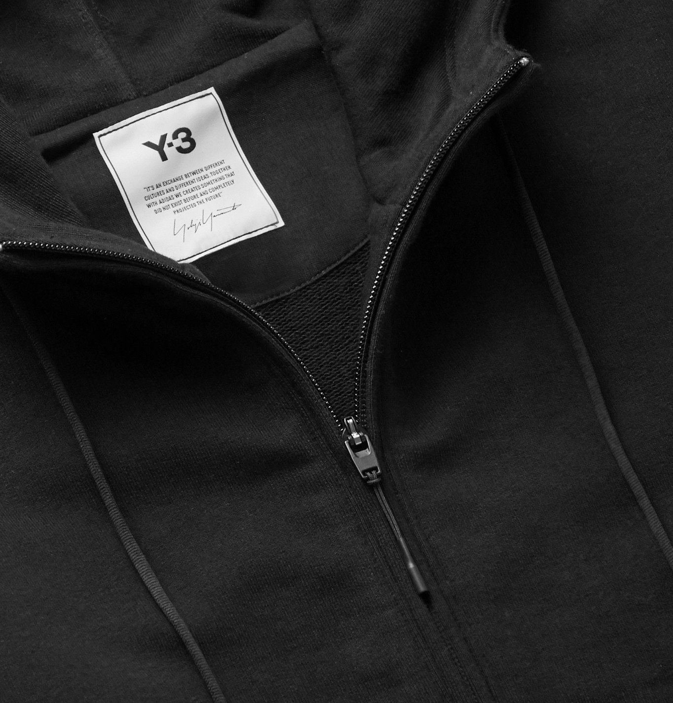 Y-3 - Logo-Print Loopback Cotton-Jersey Zip-Up Hoodie - Black