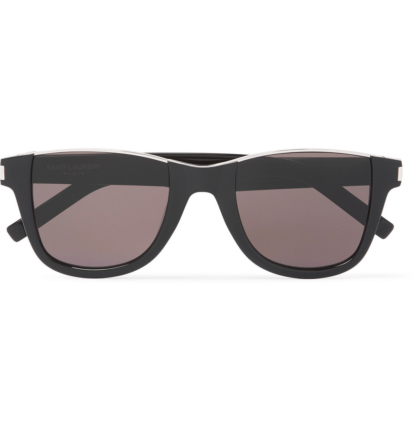 Photo: SAINT LAURENT - Square-Frame Acetate and Silver-Tone Sunglasses - Black