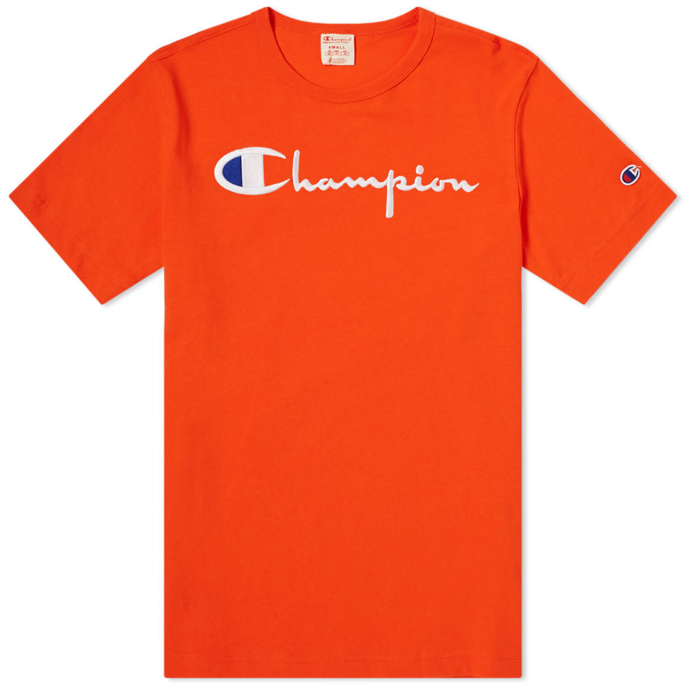 Photo: Champion Reverse Weave Script Logo Tee