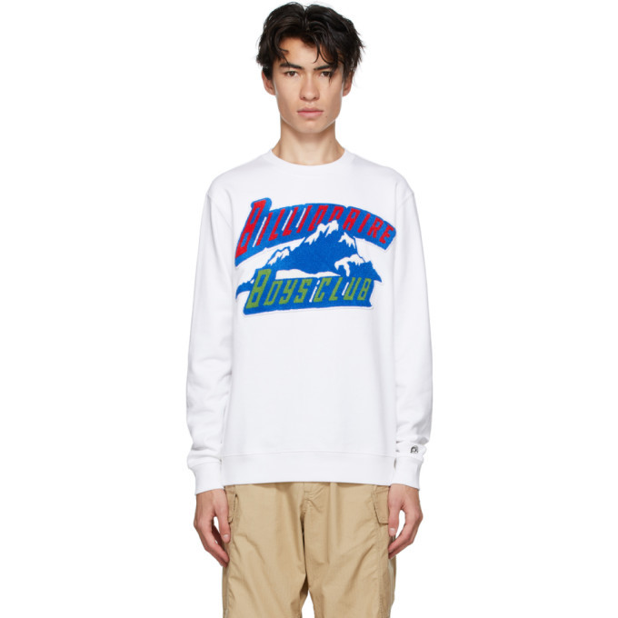 Photo: Billionaire Boys Club White Chenille Mountain Logo Sweatshirt