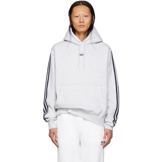 Photo: adidas Originals Grey Fleece Off Court Basketball Hoodie