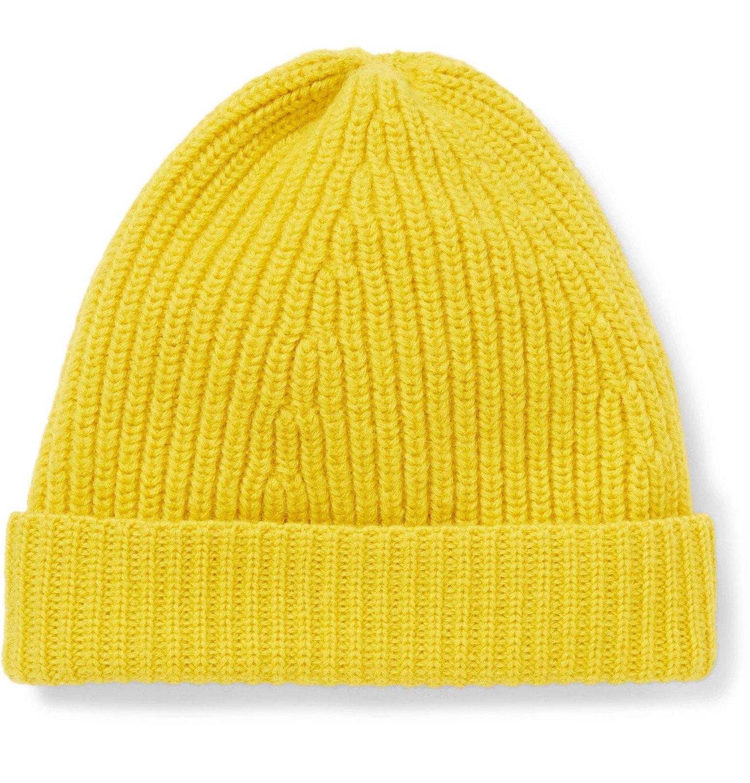 Photo: The Workers Club - Ribbed Merino Wool Beanie - Yellow