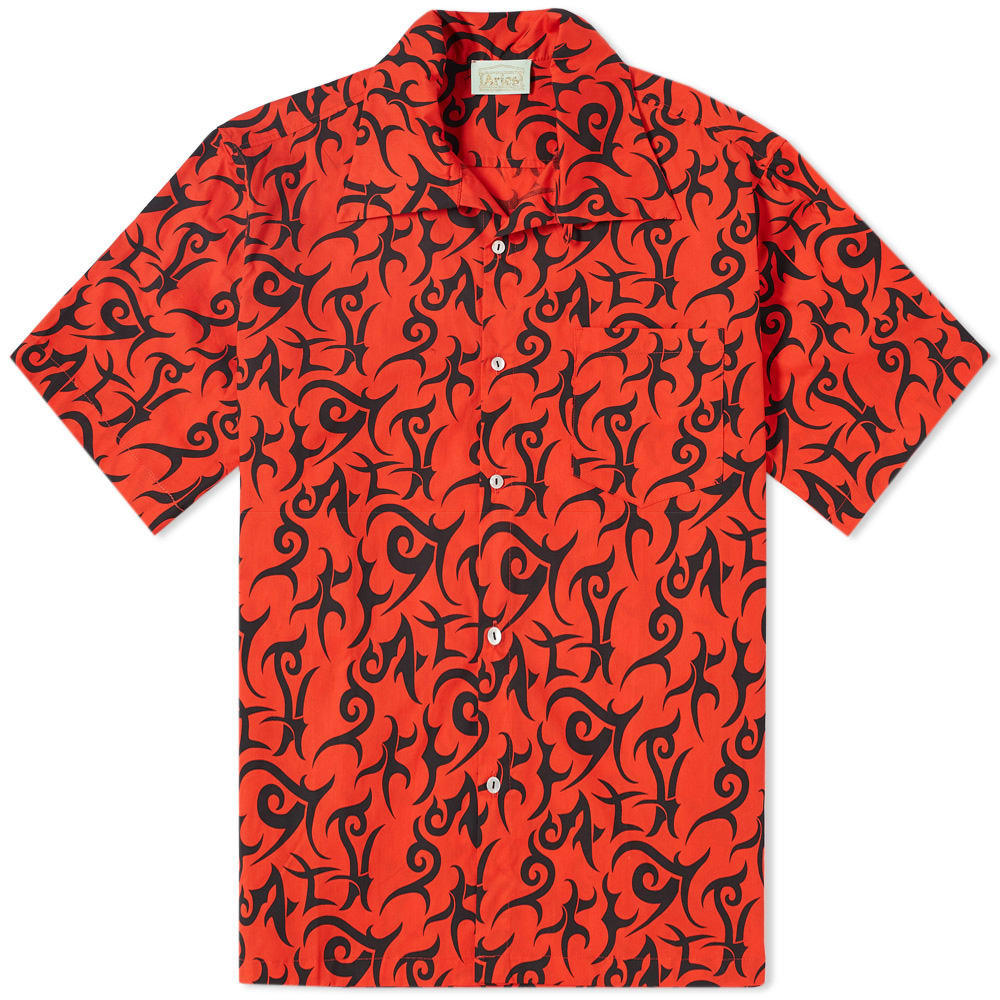 Aries Short Sleeve Tribal Hawaiian Shirt Red