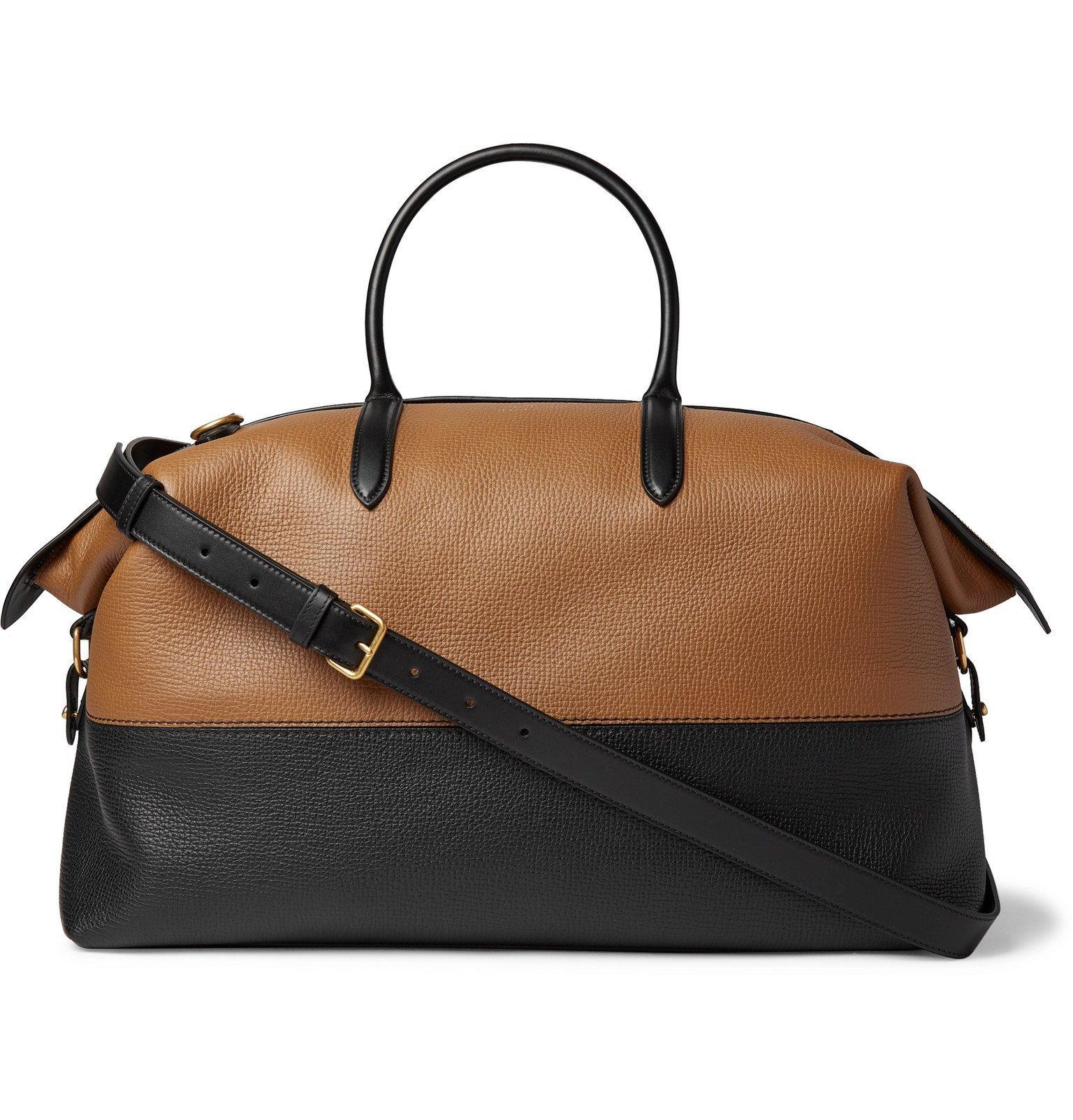 Smythson - Colour-Block Full-Grain Leather Holdall - Brown