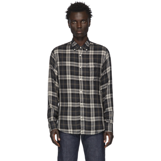 Officine Generale Grey and Off-White Check Jap Lipp Shirt