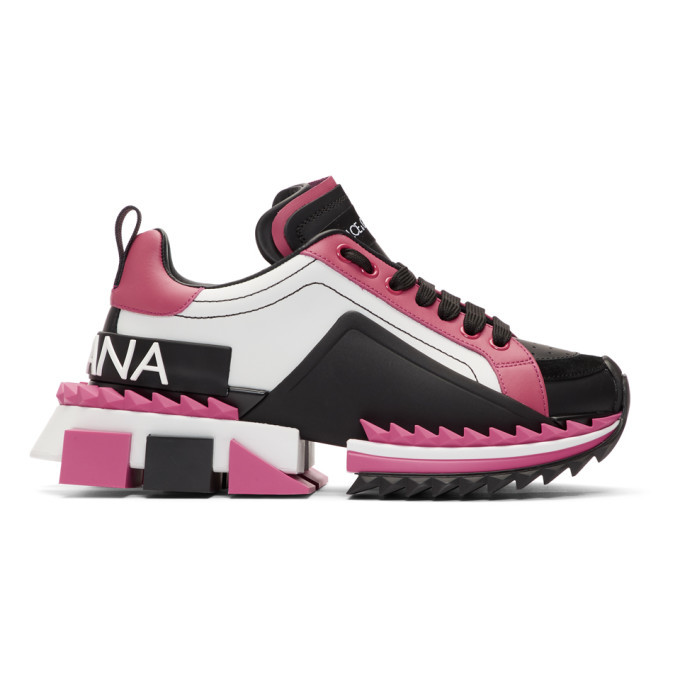 Photo: Dolce and Gabbana Pink and Black Super Queen Sneakers