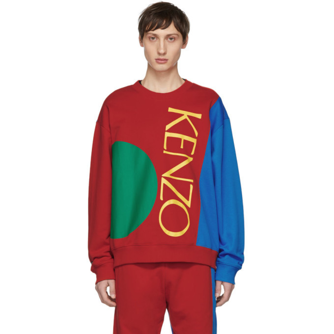 Photo: Kenzo Red and Blue Colorblock Logo Sweatshirt