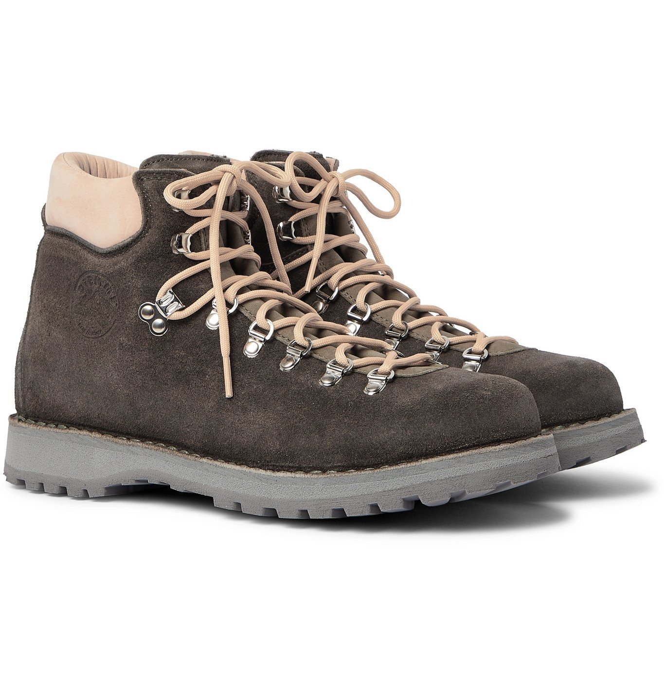 Photo: DIEMME - Roccia Vet Leather-Trimmed Suede Hiking Boots - Gray