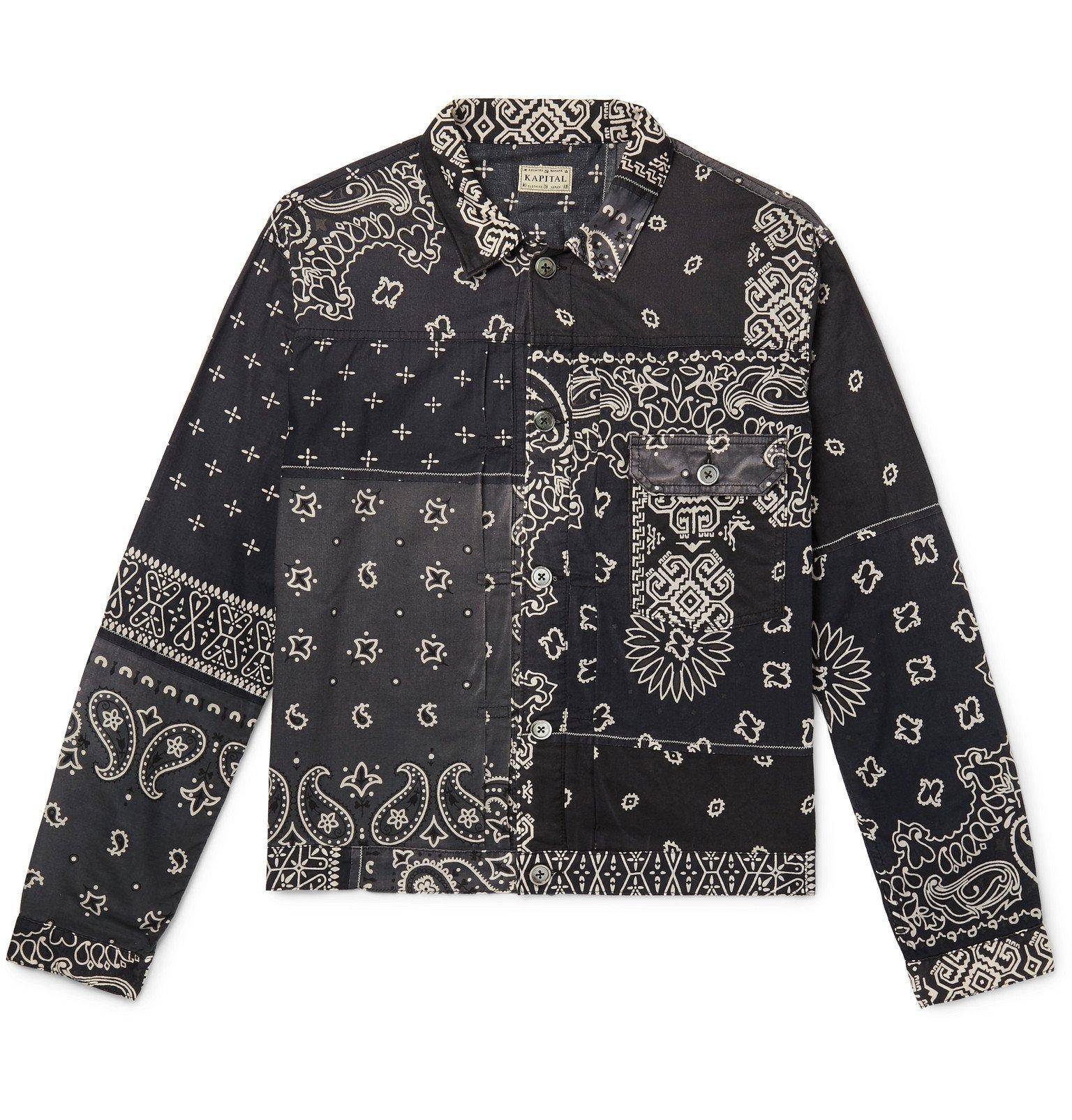 KAPITAL - Patchwork Bandana-Print Cotton Trucker Jacket - Black