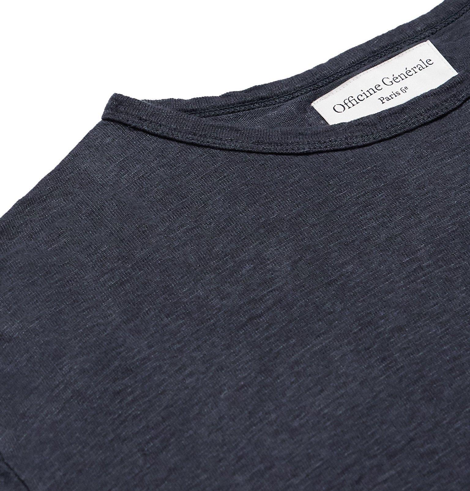 Officine Generale - Garment-Dyed Linen T-Shirt - Blue