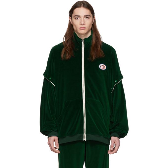 Photo: Gucci Green Convertible Velvet Track Jacket