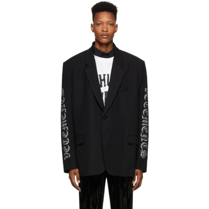 Photo: VETEMENTS Black Gothic Logo Tailored Blazer