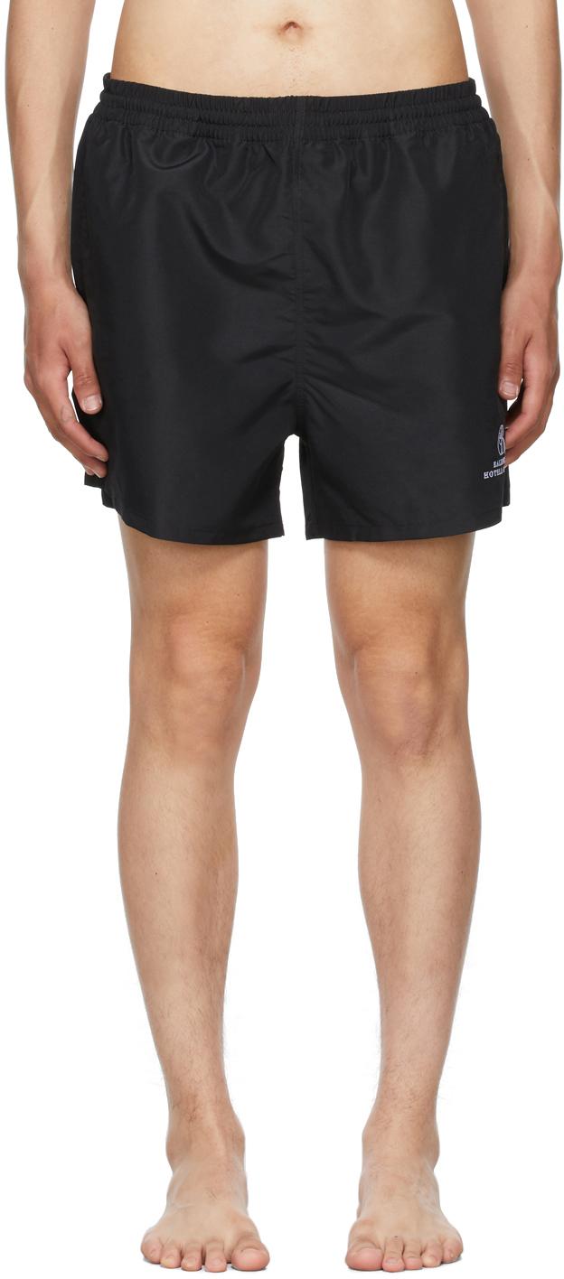 Photo: Balenciaga Black Embroidered Resorts Swim Shorts