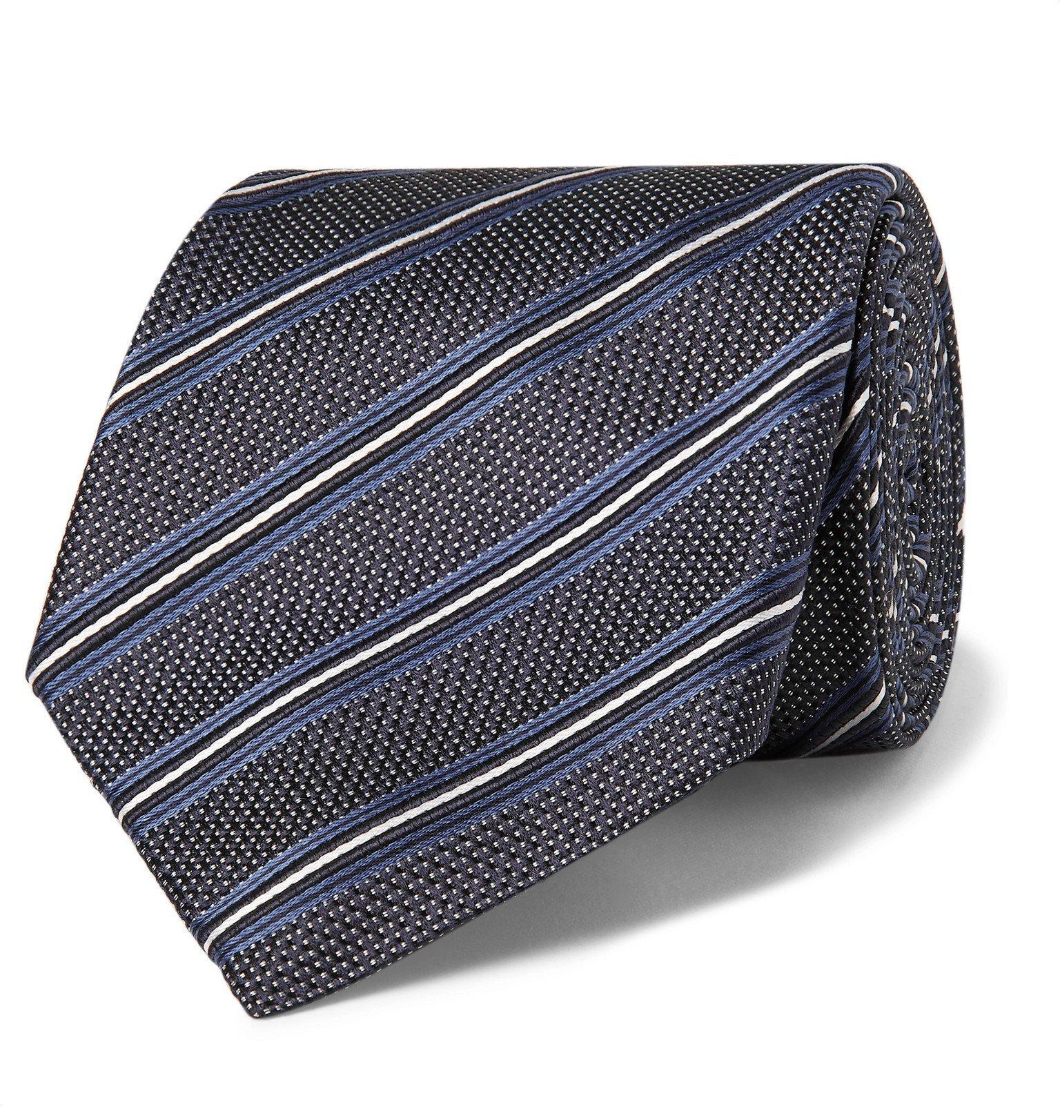Photo: Giorgio Armani - 8cm Striped Silk-Jacquard Tie - Blue