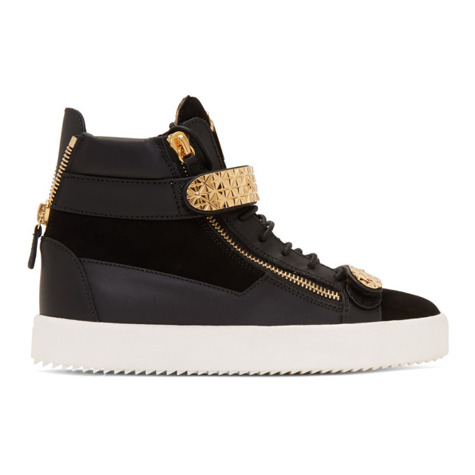 Photo: Giuseppe Zanotti Black and Gold Archer Dual High-Top Sneakers