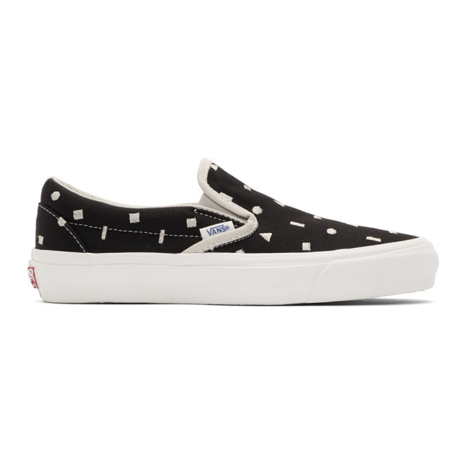 Photo: Vans Black Canvas Embroidery OG Slip-On Lx Sneakers