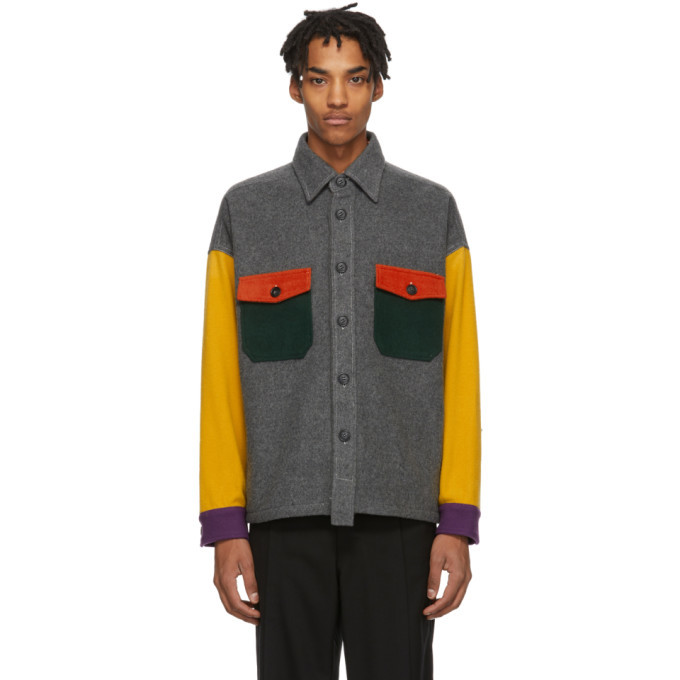 Photo: Woolrich Grey and Multicolor North Hollywood Edition Wool Shirt