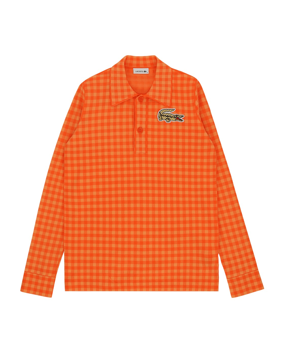 Photo: Lacoste Defile' Checkered Polo Neck Sweater Orange
